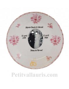 Assiette anniversaire de Mariage en porcelaine personnalisée avec photo+ inscription +colombe et alliances