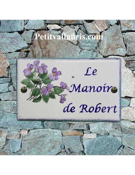 Plaque pour maison en faïence motif artisanal Les Violettes + inscription personnalisée