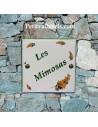 Grande plaque de maison en céramique modèle carrée motif brins de mimosa + inscription personnalisée