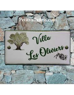 Grande plaque de maison rectangle en faience 40 x 20 cm décor artisanal viel olivier et brin d'olive avec personnalisation