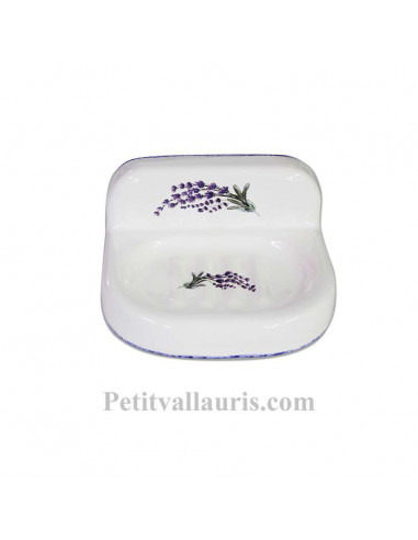 Porte savon en céramique blanche modèle mural décor brins de lavande