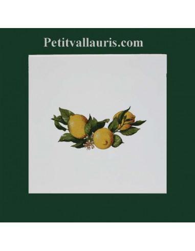 Décor sur carreau mural en faience blanche motif Citron jaune 20x20 cm