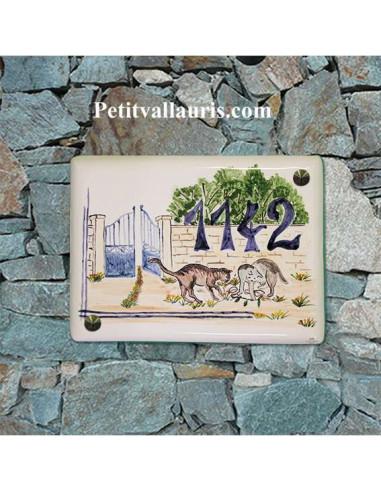 plaque pour maison céramique décor artisanal les 2 chats + inscription couleur bleue
