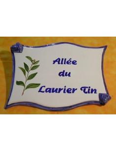 Plaque de forme parchemin décor personnalisé Laurier