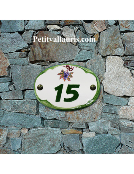 Plaque de porte ovale verte décor grappe de raisin avec numéro de maison