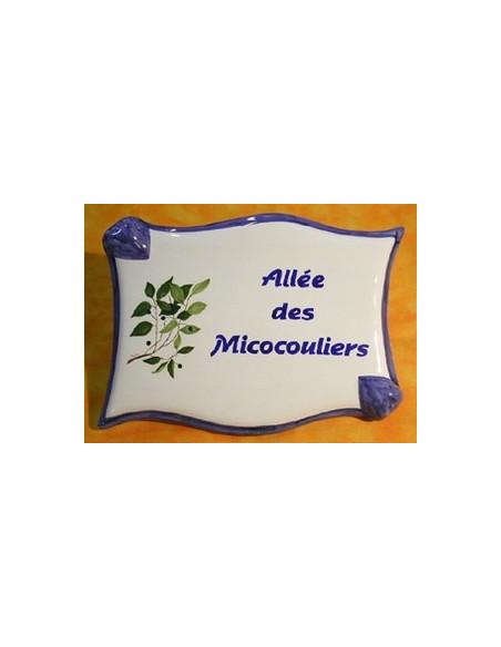 Plaque céramique de forme parchemin pour une allée motif artisanal micoucouliers