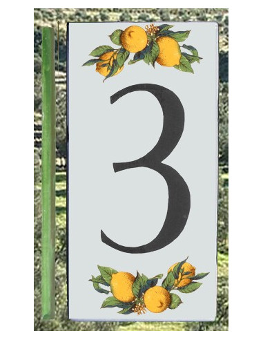 Numero de rue chiffre 3 décor Citrons