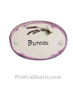 Plaque de porte ovale en faïence blanche décor Brin de Lavande bordure parme avec inscription Bureau