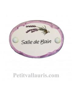 Plaque de porte ovale en faïence blanche décor Brin de Lavande bordure parme avec inscription Salle de Bain