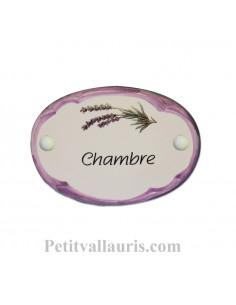 Plaque de porte ovale en faïence blanche décor Brin de Lavande bordure parme avec inscription Chambre