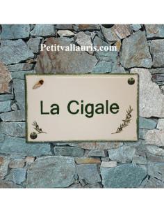 Plaque de Villa en céramique modèle rectangle motifs olives et inscription personnalisée
