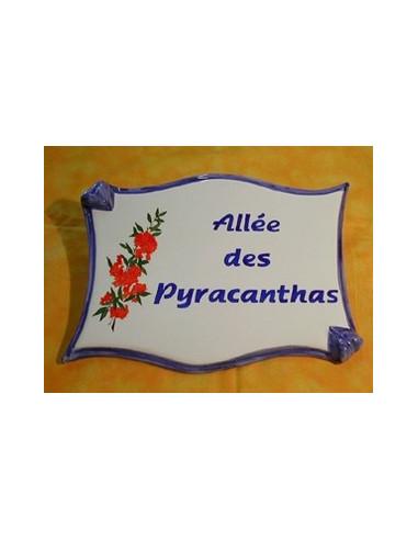 Plaque de forme parchemin décor personnalisé Les Pyracanthas