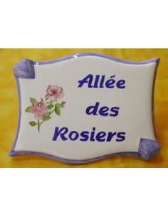 Plaque de forme parchemin décor personnalisé Les Rosiers