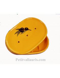 Porte savon en faïence jaune Provençal à poser avec récupérateur décor olives noires