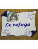Plaque parchemin de maison décor chat et pattes de chat