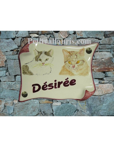 Plaque parchemin de maison décor couple de chats