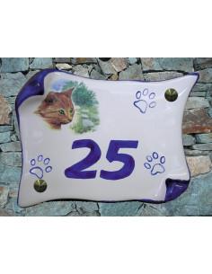 Plaque parchemin de maison en céramique Emma le chaton