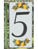 Numero de rue chiffre 5 décor Citrons