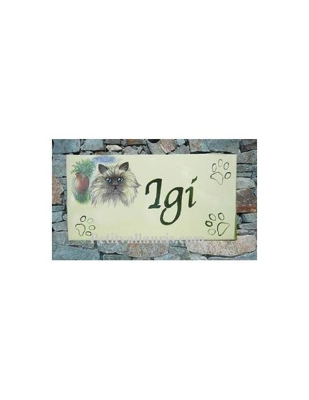 Plaque parchemin de maison en céramique Jade le chat Persan