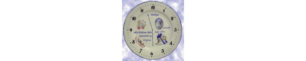 Assiette souvenir de naissance et de baptême en porcelaine et faience avec photo et inscription personnalisée
