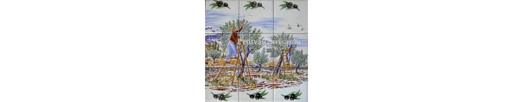 Fresques murales intérieures et exterieures en faience  pour votre cuisine ou terrasse fabriquées en France
