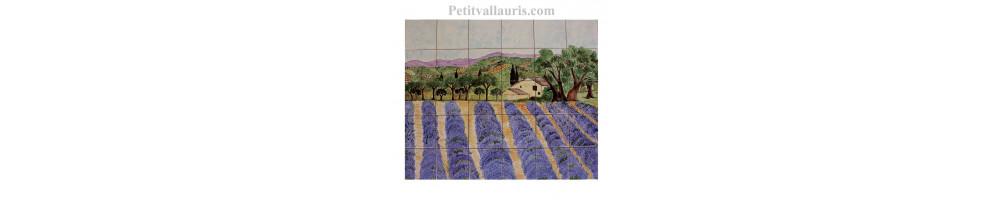 Fresques murales intérieures et exterieures en faience décorées à la main fabriquées par l'atelier le petit vallauris