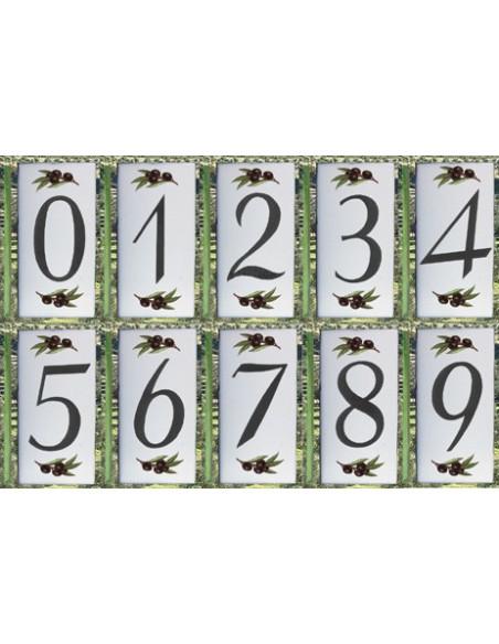 Numéro de Rue et Maison décor brins d'olivier