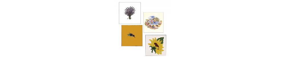 Carrelage de taille 15x15 cm avec décor motif de Provence