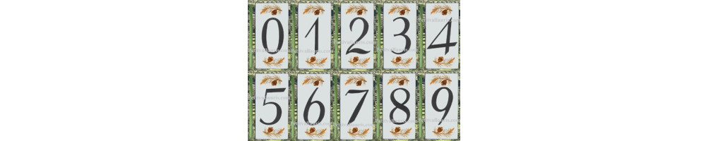 Numéro de Rue et villa en ceramique a coller sur votre portail décor pomme de pin