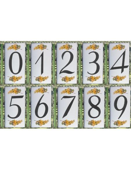 Numéro de Rue et Maison décor brins de Mimosas