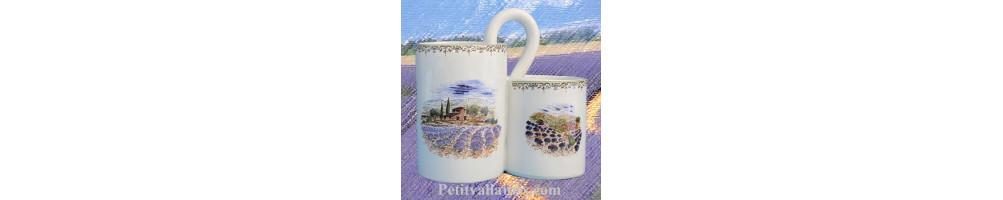Porte et range couverts ustensiles en poterie pour la cuisine fabriqué dans notre atelier au motifs Provençaux