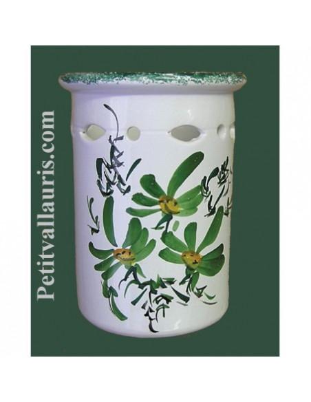 Décor fleurs sur Porte - range couverts et ustensiles en poterie