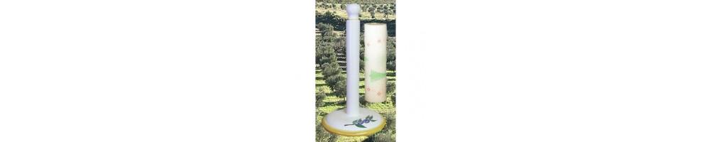 Dérouleur -dévidoir de papier essuie tout en céramique pour la cuisine à poser ou mural aux décors de provence