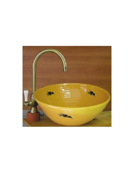 Vasque en faience et porcelaine décorée