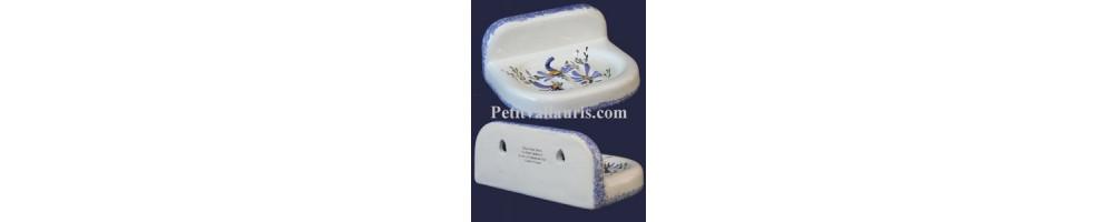 Porte et support savon à poser ou mural en faïence émaillée