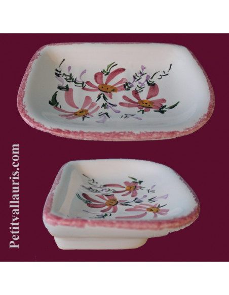Décor Fleuri sur porte savon en faience (Céramique)