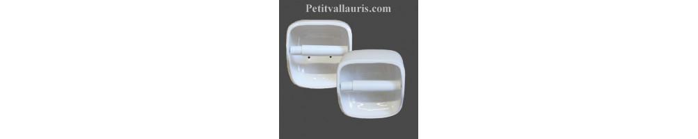 Dévidoirs de papier toilettes muraux en céramique et faience de couleur Blanche fabriqués en France
