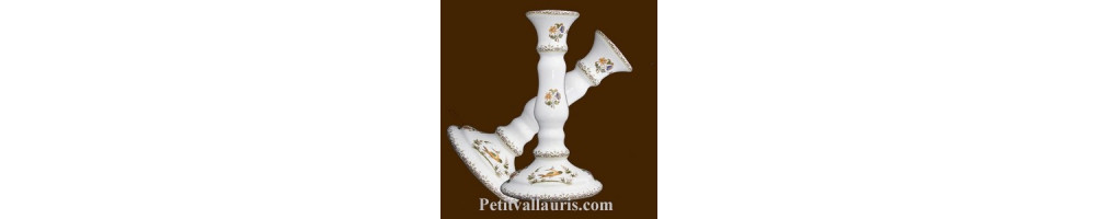 Bougeoir + chandelier + photophore en ceramique et faience une creation le petit vallauris