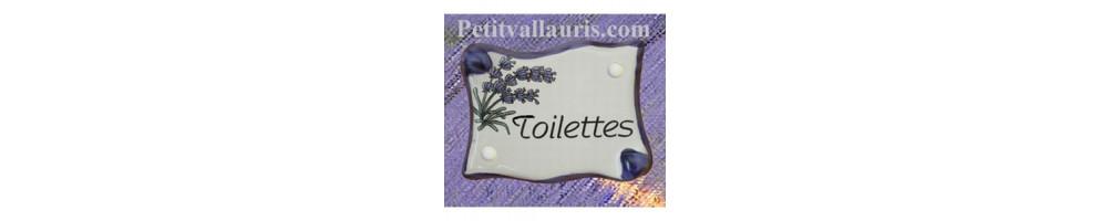 Plaque de porte motifs olive + pigne pin + lavande + mimosas +inscription chambre + wc + toilettes + salle de bain + bureau