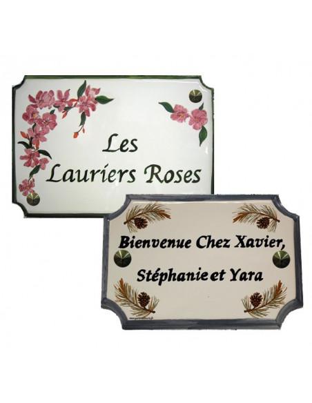 plaque angles incurvés céramique avec gravure personnalisée taille 22 x 31 et 14 x 21 cm
