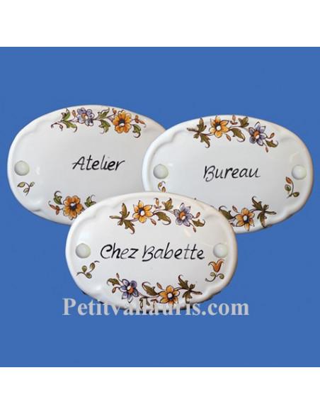 Reproduction moustiers + texte de votre choix (plaque de porte intérieure et extérieure en céramique)