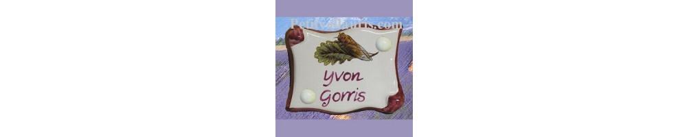 Motif Flore Provençale texte de votre choix (plaque de porte intérieure et extérieure en céramique)