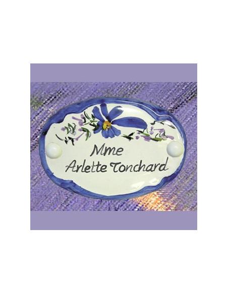 Motif Floral diverses couleurs texte de votre choix (plaque de porte intérieure et extérieure en céramique)