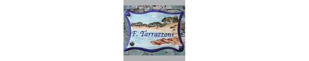 Plaques de maison en céramique aux décors et motifs provence-méditérranée-sud-est-France avec inscription personnalisée