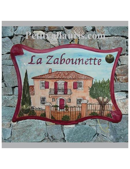 Votre maison reproduite sur Grande-plaque-parchemin-en-ceramique-emaillee