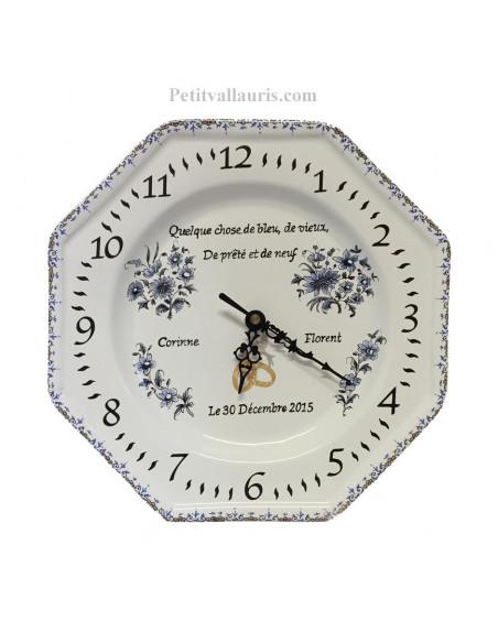 Horloge-Pendule anniversaire de mariage en faience avec personnalisation