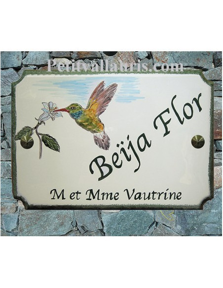 Motifs oiseaux et animaux taille 22 x 31 cm modèle style angles incurvés plaque céramique avec gravure et décors personnalisés
