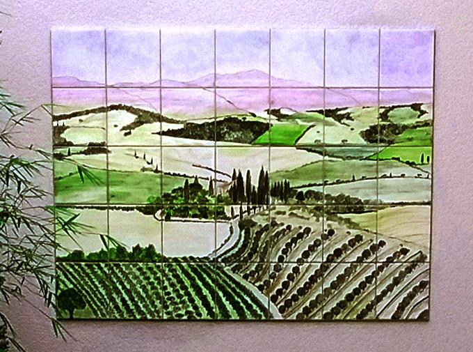 Fresque murale en faience au motif paysage de toscane