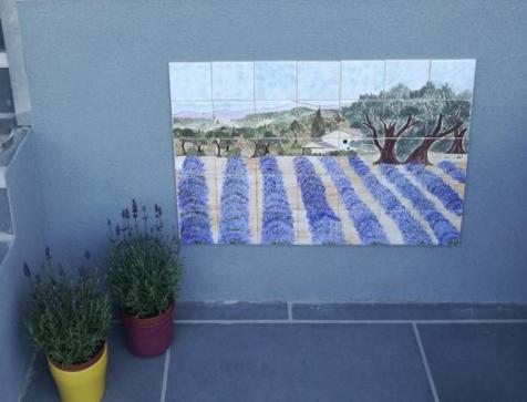 Fresque paysage provencal a bruxelles